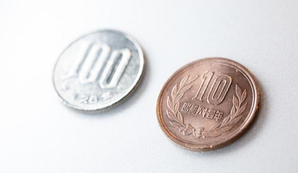 100円と10円